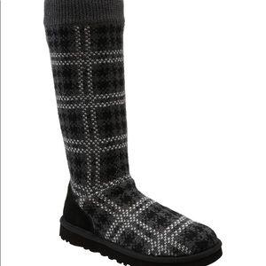 UGG Australia Black Knit Plaid Boots